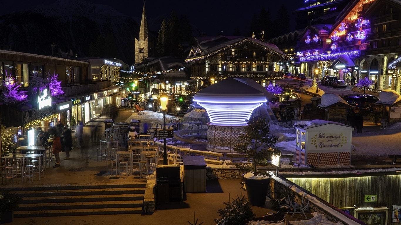 Courchevel Centre at night