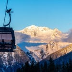 Travelling on a gondola in Courchevel