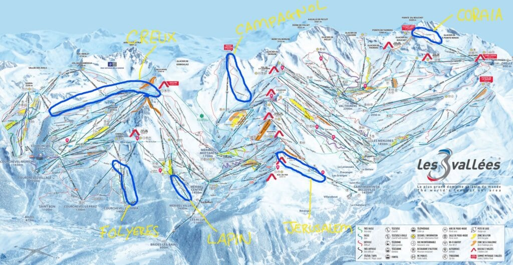 best ski runs Three Valleys marked on the piste map