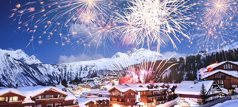 Courchevel fireworks at apres ski