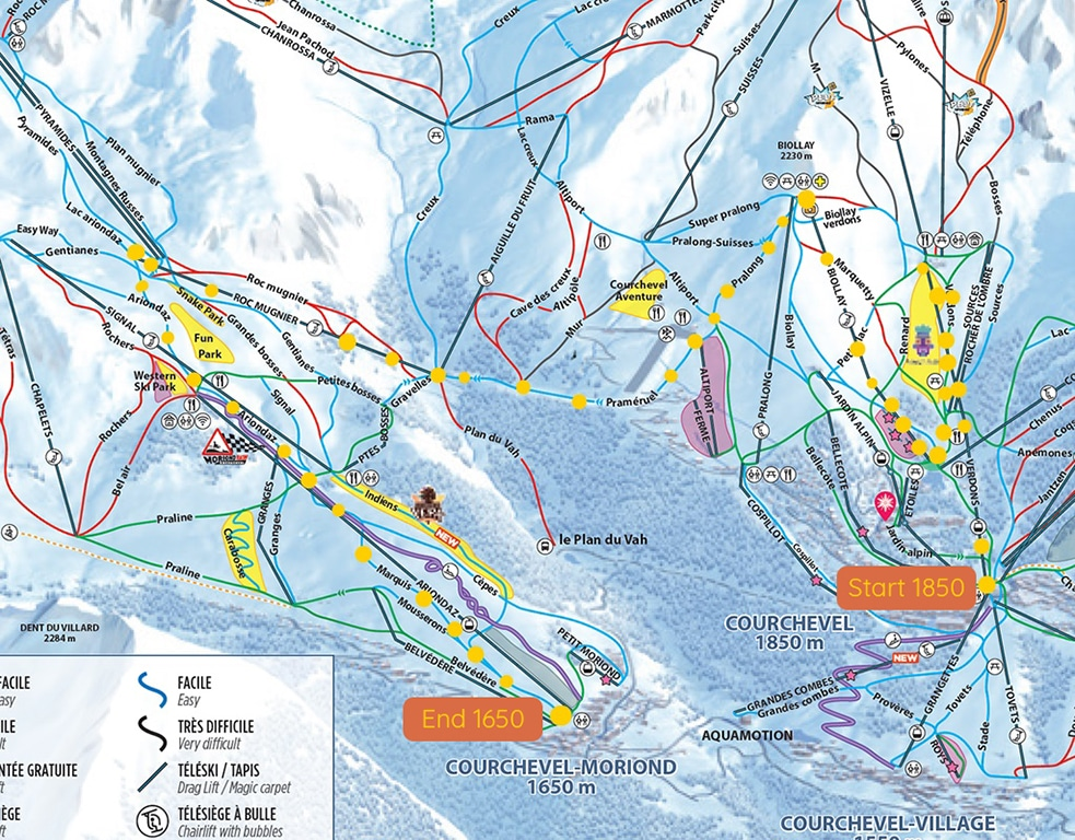 Courchevel 1850 to Courchevel 1650 Map