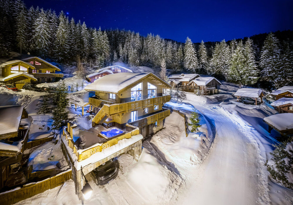 Luxury Ski Chalet de Mon Pere aerial shot