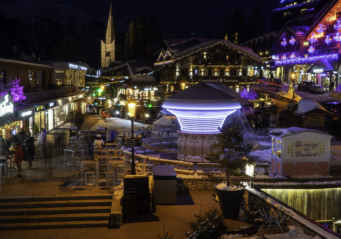 Courchevel Centre at night