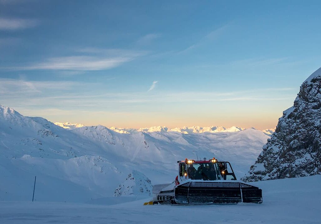 Piste grooming in The Three Valleys ski area