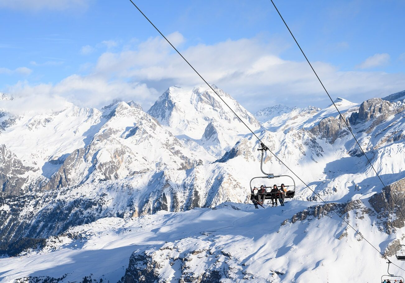 Chairlift in courchevel